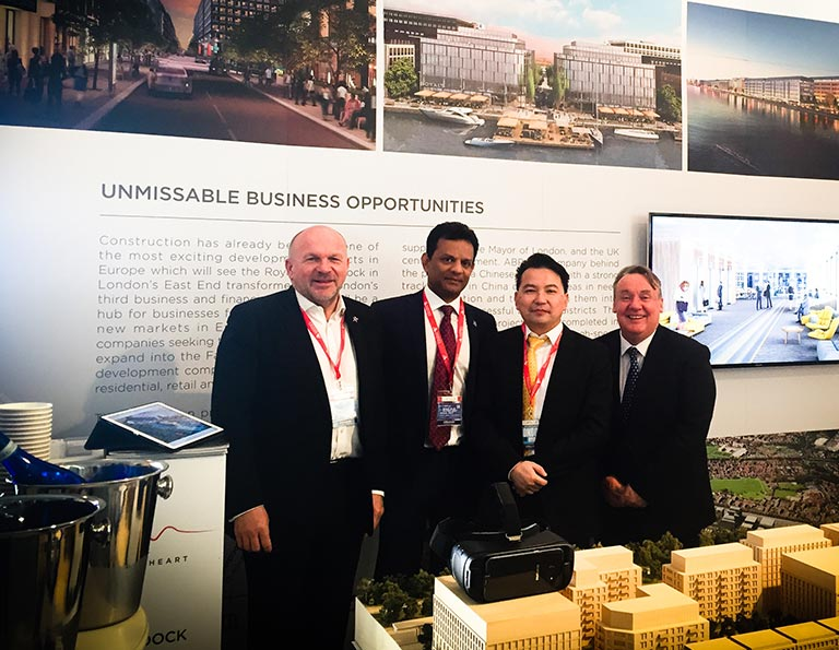 Strawberry Star Chairman Santhosh Gowda & MD-Developments Nick Stonley visit ABP London stand at MIPIM 2017