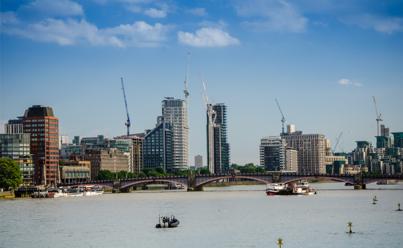 skyline of construction and buildings in London