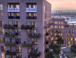 sunset view of Greenview Court in Southall London