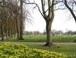 View of Wandsworth commons with people walking and relaxing on the grass