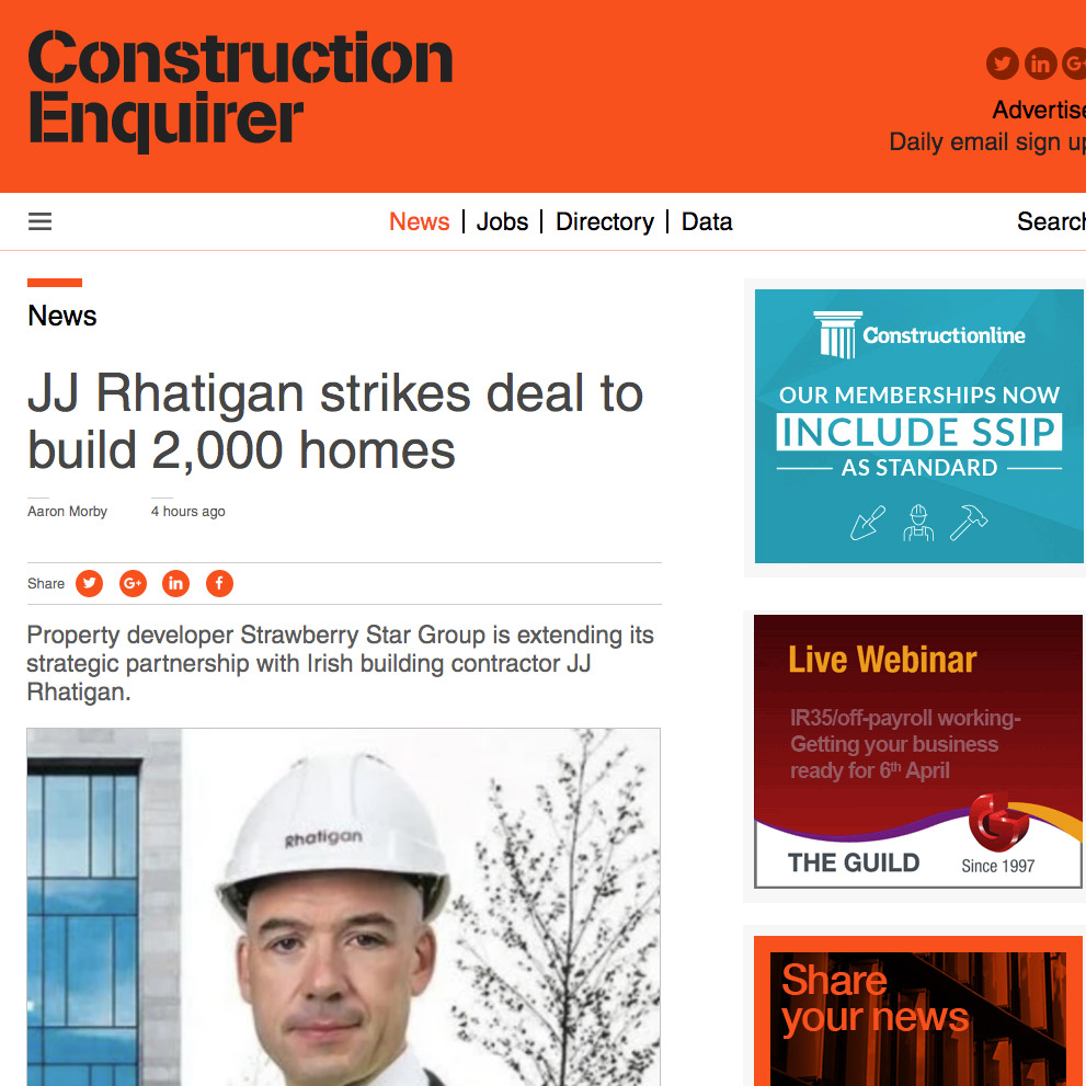 JJ Rhatigan strikes deal to build 2,000 homes